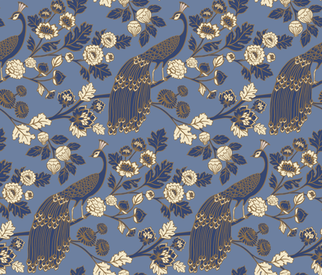 Peacock Garden {Eastern Blue} fabric by ceciliamok on Spoonflower - custom fabric