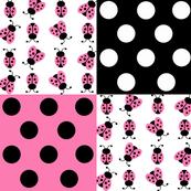 Pink Ladybug Polka Dot Quilt Blocks