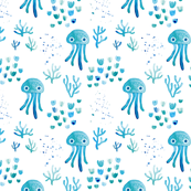 watercolor under water ocean life jelly fish and coral squid blue white SMALL