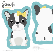 Frenchie - girl with yellow bow cut and sew plushie