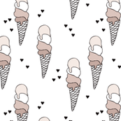 Hot summer beige pastel latte and moka coffee ice cream cone popsicle summer design print for kids