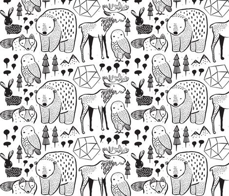 Nordic Animals on White - 4 inch Bear fabric by weegallery on Spoonflower - custom fabric
