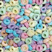 2 pastel fruit flavored breakfast cereal loops rings rainbow colorful food green purple blue red yellow seamless pop art