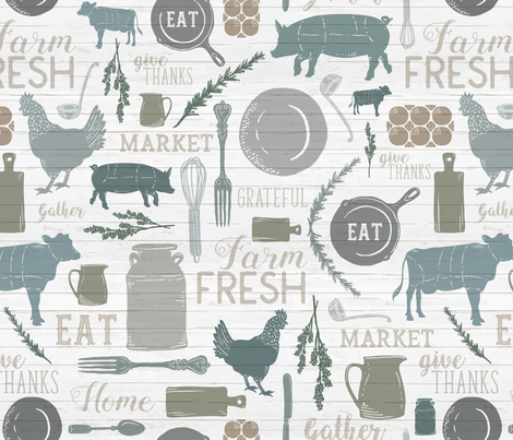 Sing for Your Supper // Gather Round & Give Thanks - Horizontal fabric by zirkus_design on Spoonflower - custom fabric