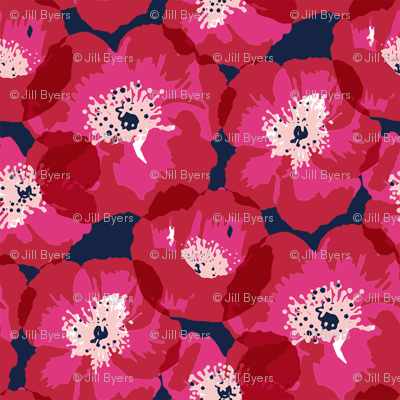 Big Poppies - smaller - red on indigo
