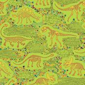 Dinosaur Fossils - Mustard on Lime