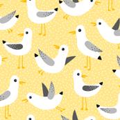 seagulls on yellow
