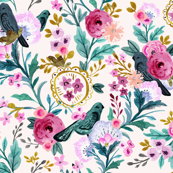 vintage birds and blooms