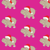 Santa Hippo Pink Background 3""
