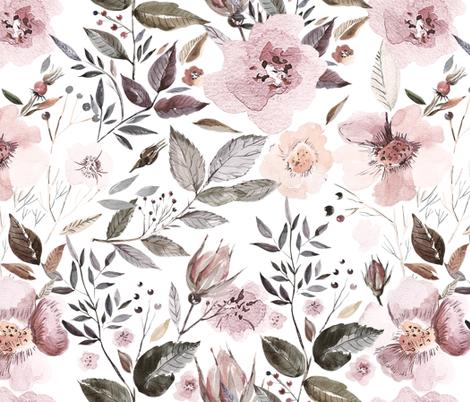"18"" UtART - Autumnal Watercolor Flowers on white fabric by utart on Spoonflower - custom fabric"