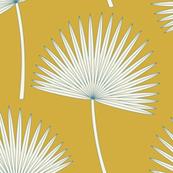 Boho sunshine palm leaves on mustard green