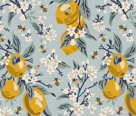 Bees & Lemons - Large - Blue fabric by fernlesliestudio on Spoonflower - custom fabric