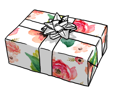 geometric gift wrap roll mini floral dreams white giftwrap shopcabin spoonflower