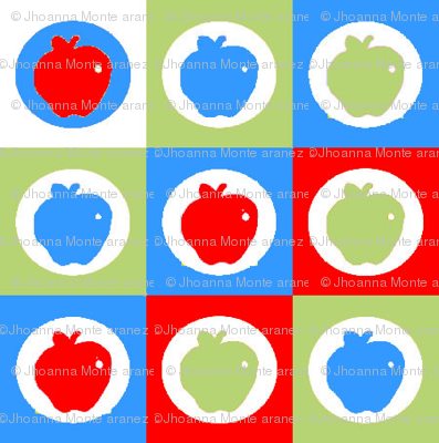 Checkered Apples (Blue, Green, Red/Orange)