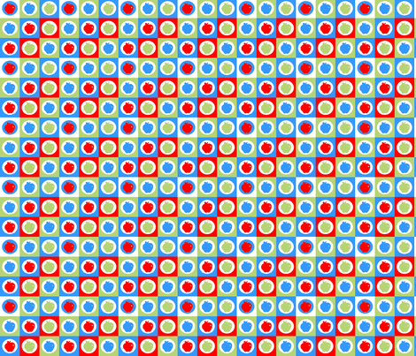 Checkered Apples (Blue, Green, Red/Orange) fabric by jmaranez on Spoonflower - custom fabric