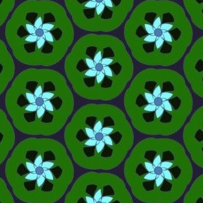Lime Retro Crescent Flower