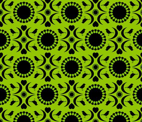 Folksy Robin (Chartreuse and Black) fabric by jmaranez on Spoonflower - custom fabric