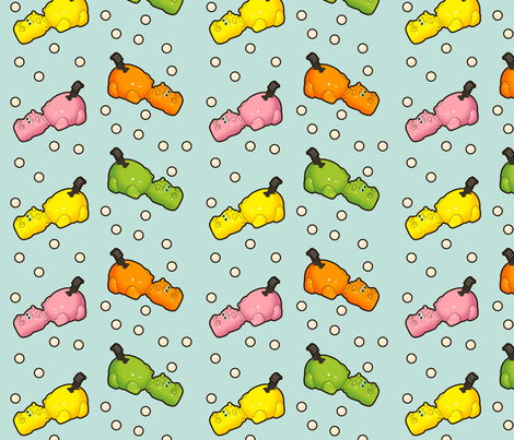 hungry hippos fabric by thickblackoutline on Spoonflower - custom fabric