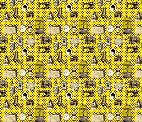 attic (yellow) fabric by mossbadger on Spoonflower - custom fabric