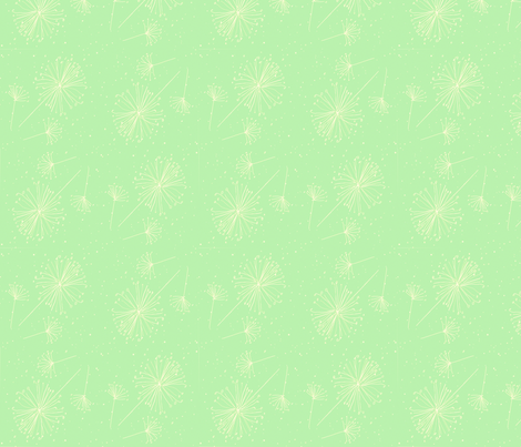 Dandelion clocks white on green fabric by susanmitchell on Spoonflower - custom fabric