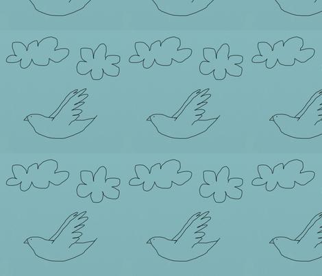 drawn_bird_on_blue fabric by kimmie on Spoonflower - custom fabric