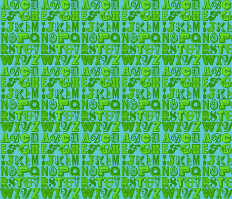 alphabet (green/blue) fabric by mossbadger on Spoonflower - custom fabric