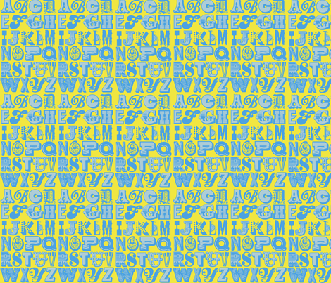 alphabet (blue/yellow) fabric by mossbadger on Spoonflower - custom fabric