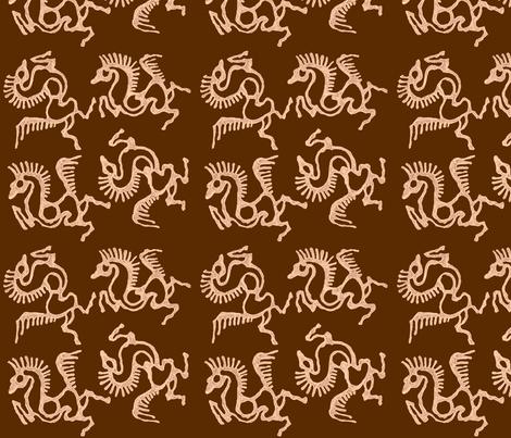 tjaphorses2-luminos-brn-LAB fabric by mina on Spoonflower - custom fabric