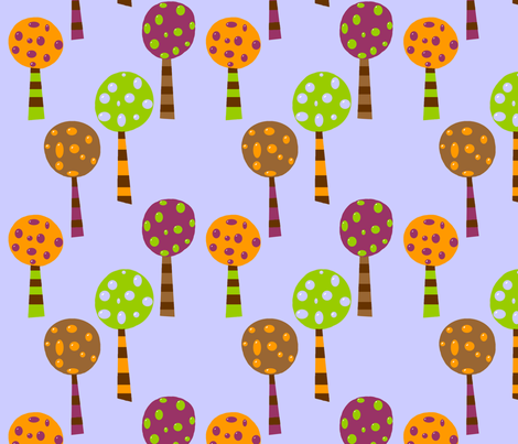 Large Funky Fall Trees fabric by mayabella on Spoonflower - custom fabric