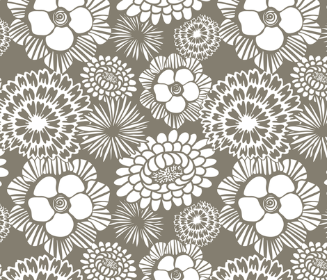 Festibloom - Modern Floral Taupe Brown fabric by heatherdutton on Spoonflower - custom fabric