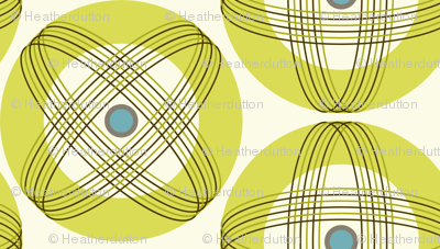 Into Orbit - Midcentury Modern Geometric Dot Green