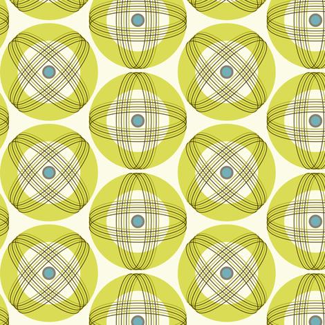 Into Orbit - Midcentury Modern Geometric Dot Green fabric by heatherdutton on Spoonflower - custom fabric