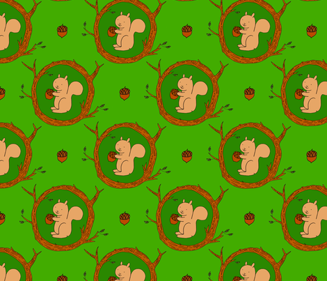 Woodland Squirrel fabric by sugarcookie on Spoonflower - custom fabric