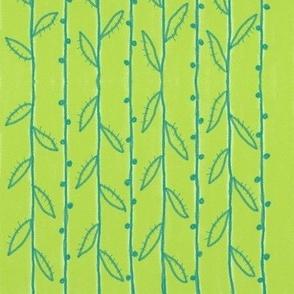 Teal Vines on Green