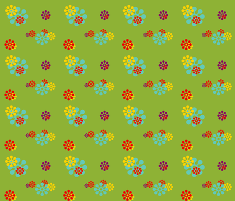 flowerfield_green fabric by snork on Spoonflower - custom fabric