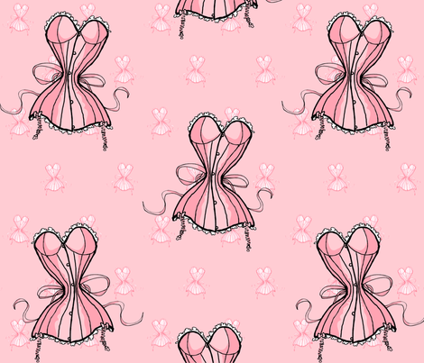 Pink Corset Whimsy fabric by ophelia on Spoonflower - custom fabric