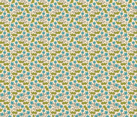 A Few of My Favorite Things, Floral Leaf - original fabric by sarahb on Spoonflower - custom fabric