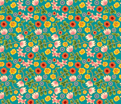 Teal Floral fabric by totallysevere on Spoonflower - custom fabric