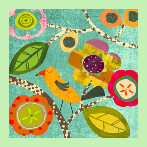 Floral Bird Panel fabric by amy_schimler-safford on Spoonflower - custom fabric