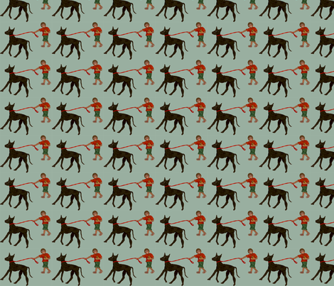 T_with_dogs_blue fabric by natalie_fabian on Spoonflower - custom fabric