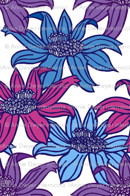 Floral - Raspberry and Blues
