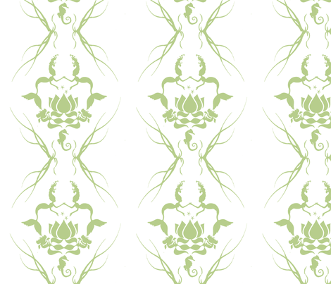 water_damask_green fabric by rheafly on Spoonflower - custom fabric