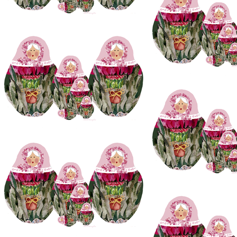 Babushka Nesting Dolls Roses fabric by karenharveycox on Spoonflower - custom fabric