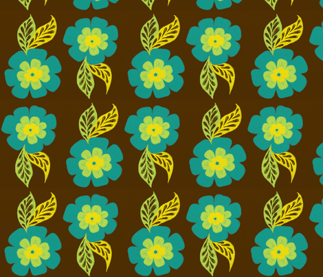 Bloom in Blue on Brown fabric by balanced on Spoonflower - custom fabric