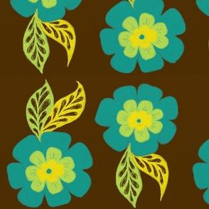 Bloom in Blue on Brown
