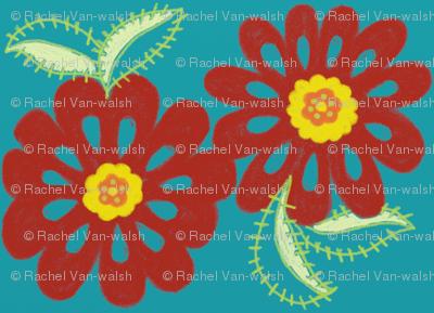 bloom_in_red_-blue_bg_for_spoonflower