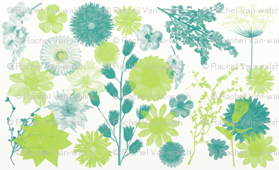 Lime Blue Floral