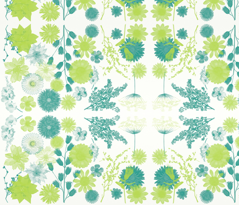 Lime Blue Floral fabric by balanced on Spoonflower - custom fabric