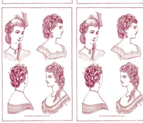 Vintage_hairstyles_purple fabric by nalo_hopkinson on Spoonflower - custom fabric