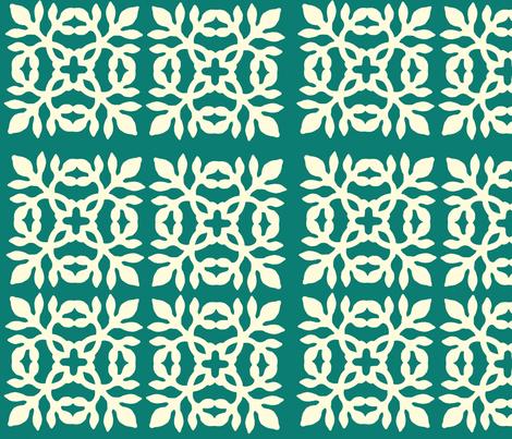 Papercut Fabric teal-green fabric by mina on Spoonflower - custom fabric